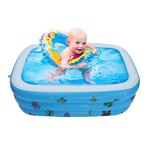 TKI-S Large Inflatable Swimming Pool with Inflation Valves Kids Water Play Fun Fit for One Children Over 3 Years Old(43×35×18 in)