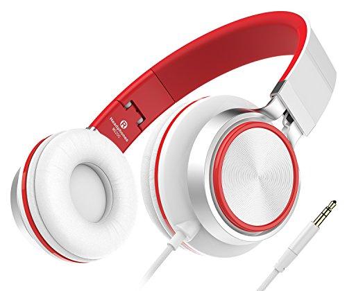 Kopfhörer, 2016 Neue Stereo faltbare Kopfhörer, Solid Bass On-Ear-Kopfhörer für Smartphones (iPhone / Samsung / Andriod / HTC) / Laptops / Computers / MP3-Players (iPod) / Tablets (iPad) mit Soft-Ohrpolster (Weiß/Rot)