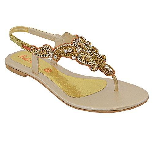 Essex Glam Womens Diamante Slingback Tå Post Platta Sandaler Guld