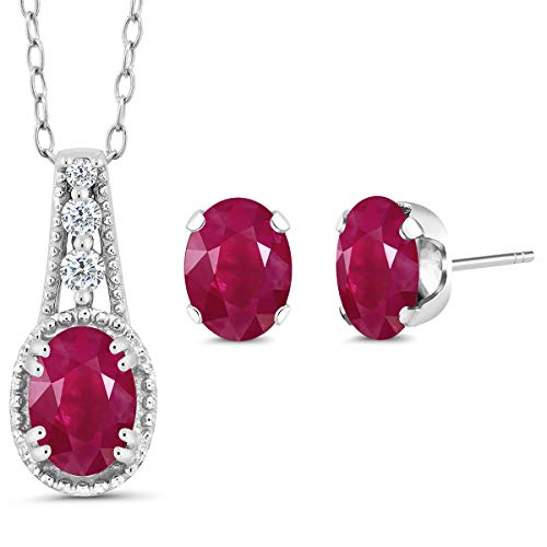 Gem Stone King 1.88 Ct Oval Red Ruby 925 Sterling Silver Pendant Earrings Set