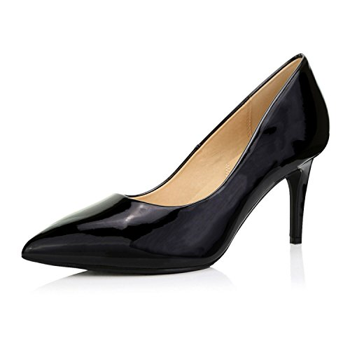 DailyShoes Women's Cushioned Pumps Mid Heels Low Kitten Closed Pointed Toe High Wedding Elegant Slip On Work Shoes Stiletto Crystal-02 Black Pt 7