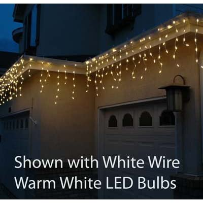 Novelty Lights M5 Christmas LED Icicle Light Set, Pure White, Green Wire, 15' Long, 150 Light : Outdoor Lightstrings : Garden & Outdoor