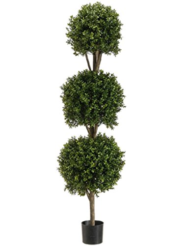 5' Potted Artificial Triple Ball-Shaped Boxwood Topiary by Allstate