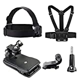VVHOOY Head Strap Mount Chest Harness 360 Degree Clip Clamp Backpack Mount Bundle-Universal Compatible with Gopro Hero 6 5 Session/Crosstour/Campark/APEMAN/AKASO &Other 4K 1080P Sports Action Camera