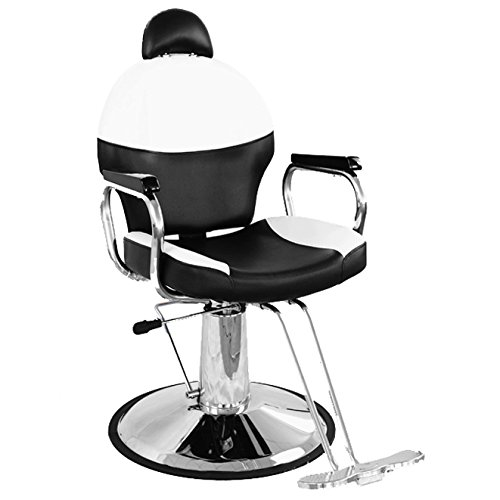 BarberPub Reclining Hydraulic Barber Chair Salon Beauty Spa Styling Chair Black&Creme White 9838BW by BarberPub