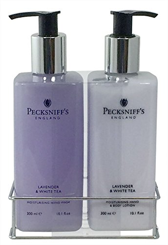 Pecksniff's Lavender and White Tea Hand Wash and Body Lotion Set (Gift Lavender Lotion Set)