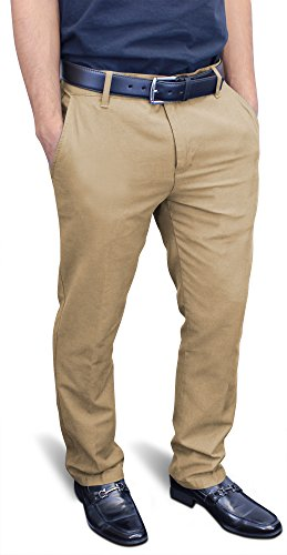 Enimay Men's Fitted Formal Pants Flat Front Dress Tailored Cotton Bottoms Zipper Khaki by Enimay