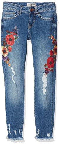 New Look Floral Printed, Vaqueros para Niñas Azul (Mid Blue 40)