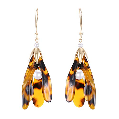 Faux Shell Earrings - Tortoise Shell Flower Drop Earrings, Floral Pearl Dangle Mottled Earring for Girls Women Anniversary Day Gift