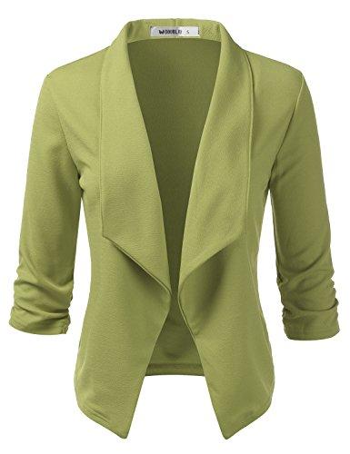 CLOVERY Women's 3/4 Sleeve Ruffle Design Cropped Bolero Shrug Open Front Cardigan SAGE S