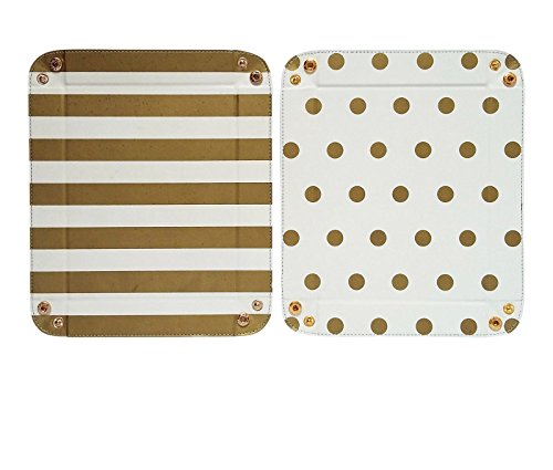 2 Pcs PU Leather Catchall Valet Tray for Women, Dots & Stripes by Pink Mackerel