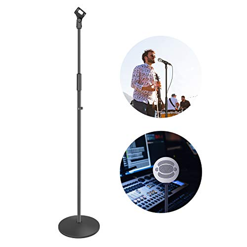Neewer Compact Base Microphone Floor Stand with Mic Holder Adjustable Height from 39.9 to 70 inches Durable Iron-Made Stand with Solid Round Base Detachable for Easy Transport(Black)