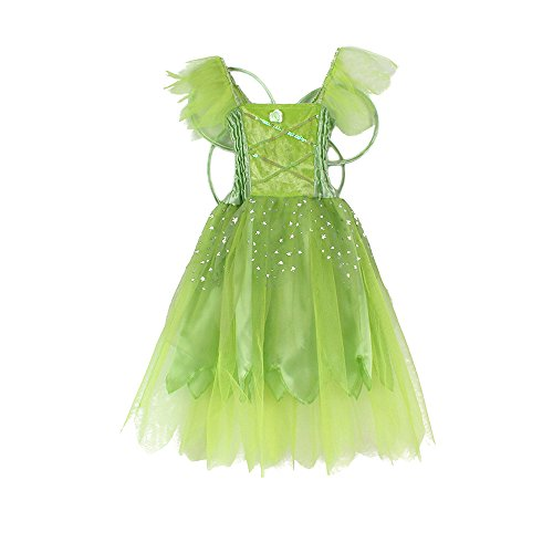 Girls Princess Fairy Wings Tutu Long Dress Birthday Party Costume Halloween, Green 4-6 Year