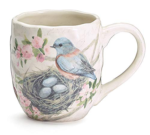 Bluebird Ceramic Coffee Cup Mug   Mama Birds Nest with Eggs on Cherry Blossom Branch   Pottery Decor (Gift Box Included)