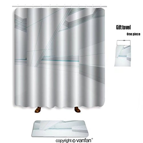 Durable Modeling Vanfan Bath Sets With Polyester Rugs And Shower Curtain Abstract White Interior Highlights Future