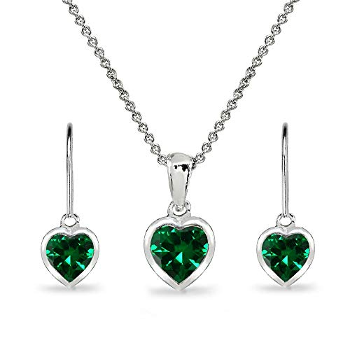 Sterling Silver Simulated Emerald Heart Bezel-Set Solitaire Pendant Necklace & Dangle Earrings Set for Women Teen Girls