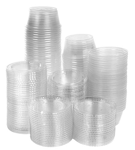 3.25 oz Disposable portion cups souffle cups with lids, set of 100, jello shot cups, souffle cups, sampling cups, sauce cups