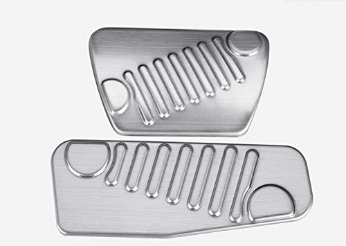 Nicebee 2pcs/Set Stainless Steel Foot Pedal Parts Kits Gas Accelerator Brake Pad Trim Cover for Jeep Wrangler JL 2018 Up (Silver)