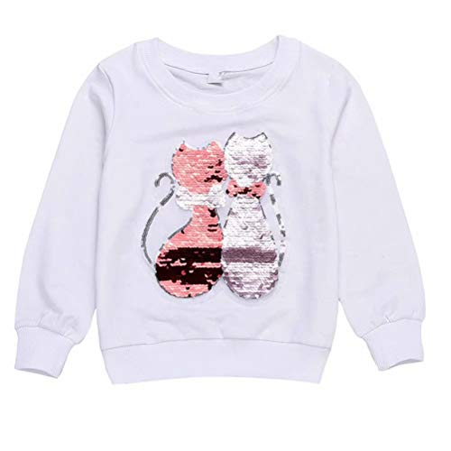 Toddler Girls Sequins Cat Sweatshirt White Pullover T-Shirt Clothes 150 (7-8YRS)
