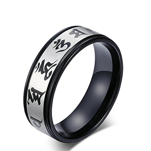 ANAZOZ 8MM Stainless Steel Silver Black 2 Tone Om Mani for sale  Delivered anywhere in Canada