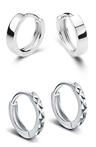 925 Sterling Silver Huggie Small Hoop Earrings(2 ()