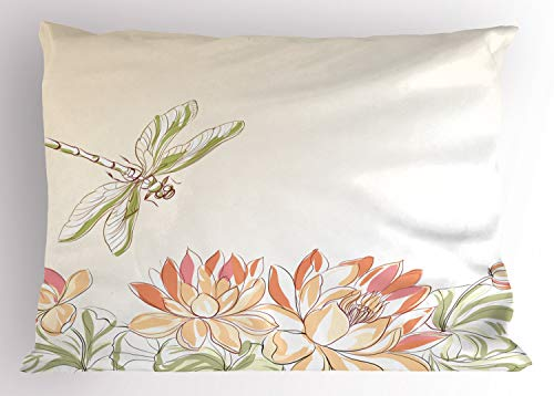 Ambesonne Dragonfly Pillow Sham, Lotus Flower Field with Dragonfly Flying Oriental Blooms Artful Print, Decorative Standard King Size Printed Pillowcase, 36 X 20 Inches, Cream Peach Coral (Bloom Pillow Sham)