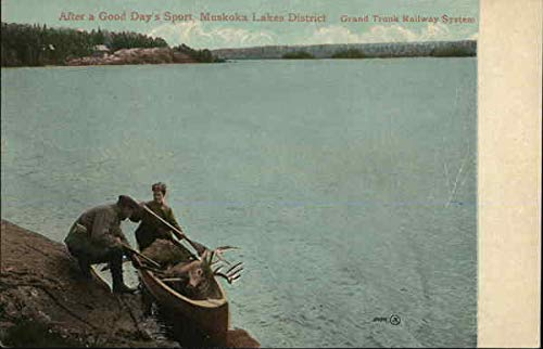 After a Good Day's Sport, Muskoka Lake District, Grand Trunk Railway System Original Vintage Postcard from CardCow Vintage Postcards