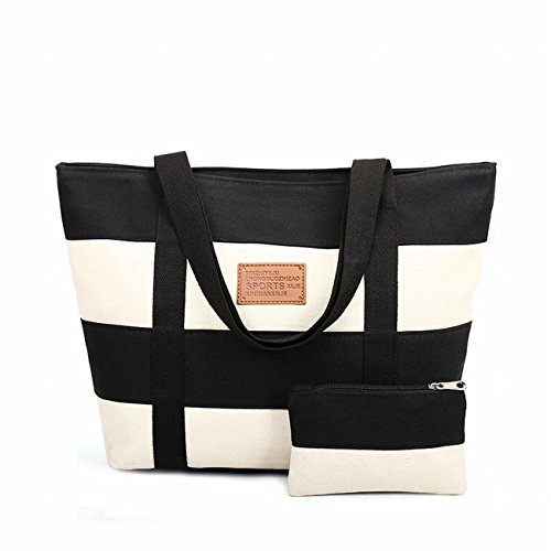 SELECTIA Shopping Bag Cotton Canvas Tote Shoulder Bag Mother's Day Gift School Bag Washable Diaper bag Sport and Leisure Bag and Case Eco bag extra large Easter embroidered 13 (Black) by SELECTIA