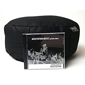 Meditation Pillow + Meditation Music CD | Cotton Spine Support Sitting Pillow + Instrumental CD | Guided Meditation Manual + Relaxation Music + Zafu Pillow