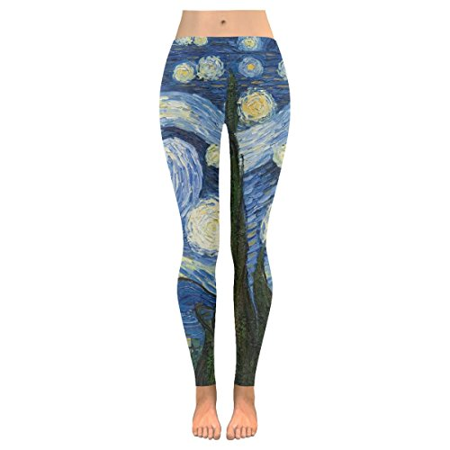 INTERESTPRINT Starry Night Painting Custom Stretchy Capri Leggings Skinny Pants for Yoga Running Gym XS