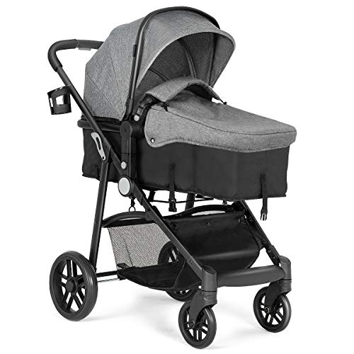 Costzon Baby Stroller, 2 in 1 Convertible Carriage Bassinet to Stroller, Pushchair with Foot Cover, Cup Holder, Large Storage Space, Wheels Suspension, 5-Point Harness (Gray) (Stroller Buggy)