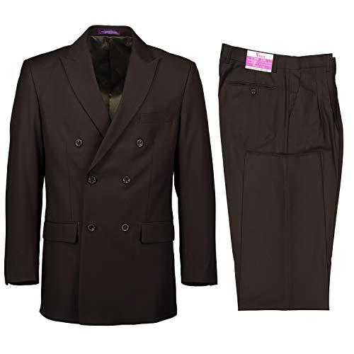 VINCI Men's Premium Solid Double Breasted 6 Button Classic Fit Suit Olive | Size: 44 Regular / 38 Waist