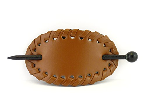 Leather With Wood Slide Stick Oval Hair Pin (Light Brown)
