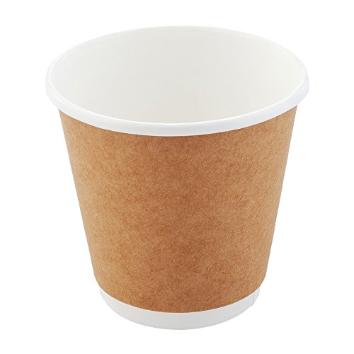 Double Wide Cafe - 25-CT Disposable Kraft 8-OZ Wide Hot Beverage Cups with Double Wall Design: No Need for Sleeves – Perfect for Cafes or Home Use – Eco-Friendly Recyclable Paper – Insulated – Wholesafe Coffee Cup