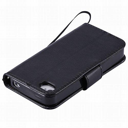 Custodia Apple iphone 4 4s Cover Case, Ougger Alberi Gatto Printing Portafoglio PU Pelle Magnetico Stand Morbido Silicone Flip Bumper Protettivo Gomma Shell Borsa Custodie con Slot per Schede (Nero)