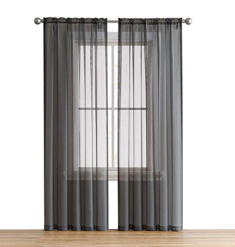 HLC.ME Charcoal Grey Sheer Voile Window Treatment Rod Pocket Curtain Panels for Bedroom (54 W x 108 L, Set of 2)