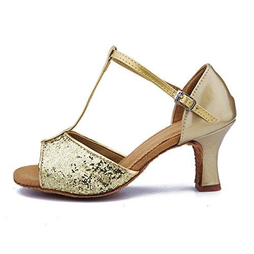 Roymall Kvinna Guld Satin Latin Dansskor Sällskaps Salsa Tango Prestanda Skor, Modell Wzjcl-7,6.5 B (m) Oss