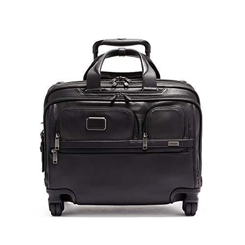 (TUMI - Alpha 3 Deluxe 4 Wheeled Leather Laptop Case Brief - 17 Inch Computer Brief for Men and Women - Black)