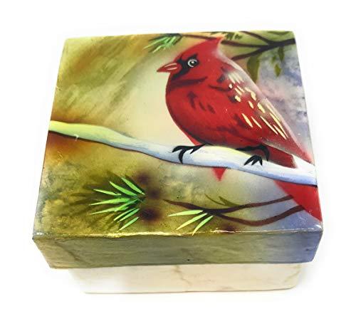 Kubla Craft Red Cardinal Capiz Shell Keepsake Box, 3 Inches Square