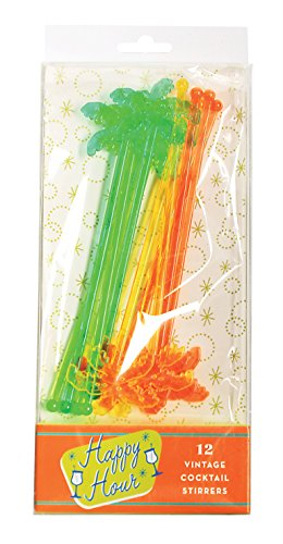 Party-Partners-12-Count-Palm-Trees-Happy-Hour-Vintage-Style-Cocktail-Stirrers-Multicolor