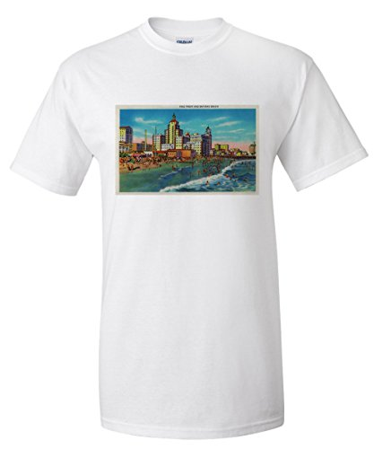 Pike Front and Bathing Beach, Long Beach (White T-Shirt - Long Beach The Pike