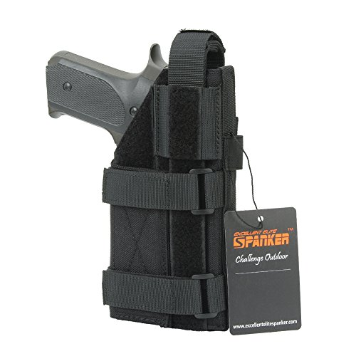 (EXCELLENT ELITE SPANKER Tactical Adjustable Pistol Holster for M1911 G17 G18 G19 G26 G34 XD-45acp CZ P-10C(Black))