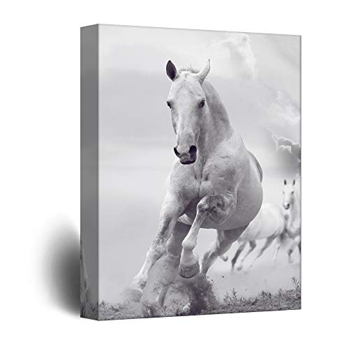 wall26 - Canvas Wall Art - Galloping White Horses - Giclee Print Gallery Wrap Modern Home Decor Ready to Hang - 24x36 inches