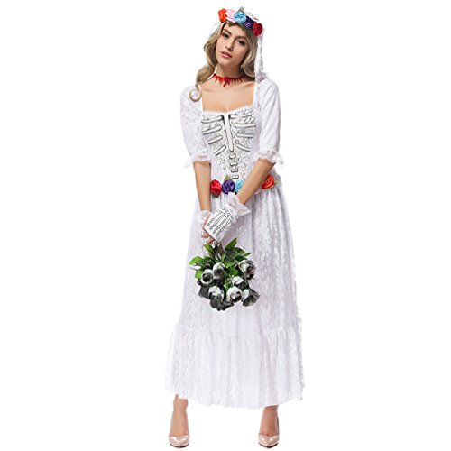 Honeystore Women's Lace Ghost Bride Halloween Costume Fancy Dress Outfits