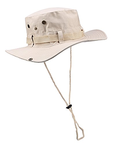 (ELUTONG Wide Brimmed Hat Car Jungle Sun Fishing Beach Hat, Outdoor Wide Brim Breathable Hunting Sun Hat | Men | Women (Beige One Size22-23.2 inch))