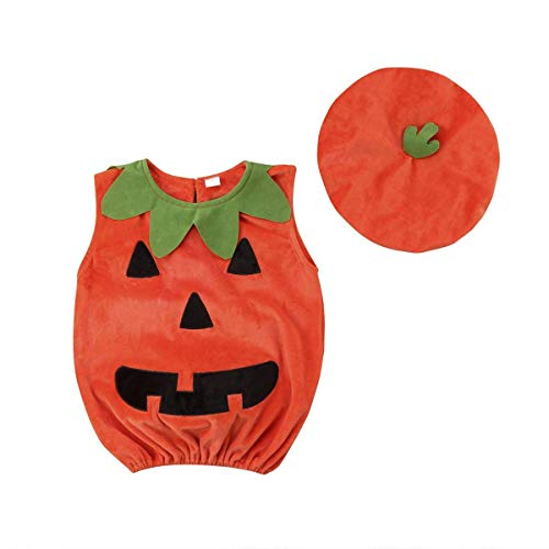 Wiswell Infant Baby Girls Boys Halloween Costumes Pumpkin Bodysuit Sleeveless Ruffled Romper Outfits with Hat for $<!--$6.99-->