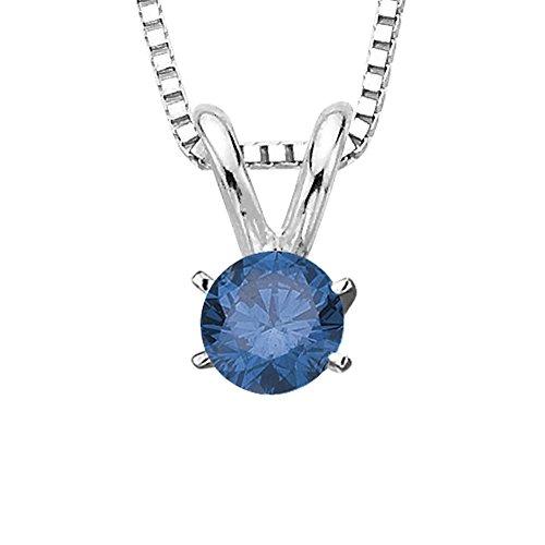 KATARINA Blue - I1 Round Brilliant Cut Diamond Solitaire Pendant Necklace in 14K White Gold (1/2 cttw)