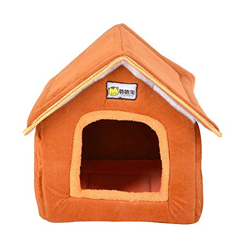 Kit Encl (Foldable Pet House with Mat Winter Warm Leopard Dog Puppy Sofa Cushion House Kennel Nest Dogs Cat Bed Small Medium Dog)