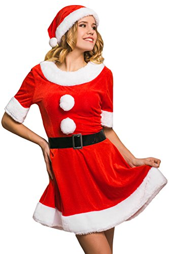 Misses Claus Costume (Adult Women Sweet Miss Mrs. Santa Costume Role Play Christmas & New Year Dress Up (Small/Medium, Red, White, Black))