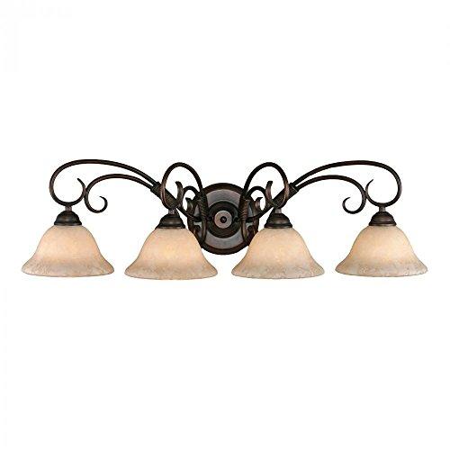 Bathroom Elegant Bronze Lights (Golden Lighting 8604 RBZ Homestead Four Light Vanity, Rubbed Bronze Finish)